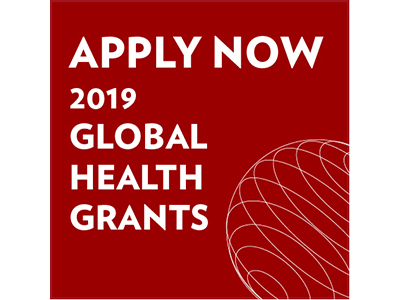 White letters on red background say Apply Now 2019 Global Health Grants