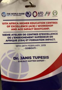 a Flier for the Africa Higher Education Centres of Excellence workshop with Dr. Janis Tupesis as subject matter expert.