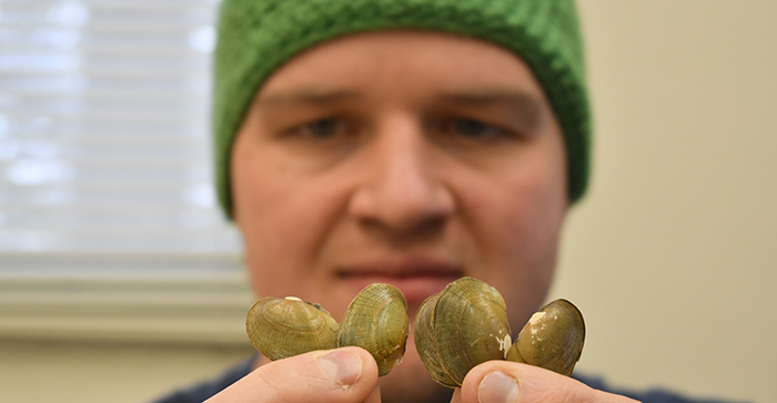 A man holds five yellow-colored mussel shells in his fingers in front of his face in the background.